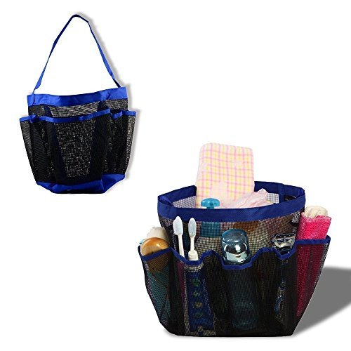 Portable Collapsible Shower Tote with 9 Pocket Storage, Mesh Shower Caddy, Bath Organizer - Perfect for College Dorm, Pools, Gyms, Beaches, Bathrooms, Shower, Portable Collapsible Shower Caddie
