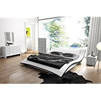 US Pride Furniture Riley Faux Leather Contemporary Bed, Queen, White