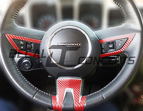Camaro Carbon Fiber Full Steering Wheel Accent Decal kit cover (2010-2012) (Red Carbon Fiber)