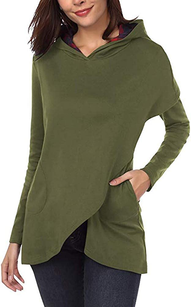 Wadonerful Womens Hoodies V Neck Long Sleeve Plaid Splicing Asymmetric Hem Hooded Pullover Sweatshirt Tops Blouse