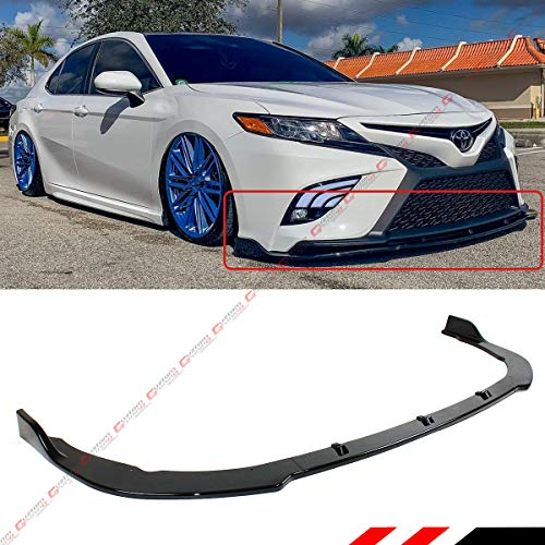 Fits for 2018-2019 Toyota Camry SE XSE 3 Pieces Style Glossy Black Front Bumper Lip Spoiler Splitter