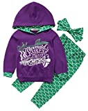 stylesilove Cute Toddle Girl Mermaid Styles Hoodie and Pants with Headband 3 pcs Outfit (120/6)