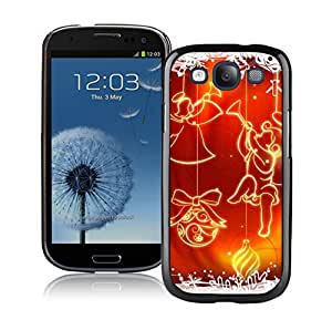 S3 Case,Snowflake Red Jingling Bell Christmas Silicone Black Samsung Galaxy S3 Case,S3 I9300 Protective Case