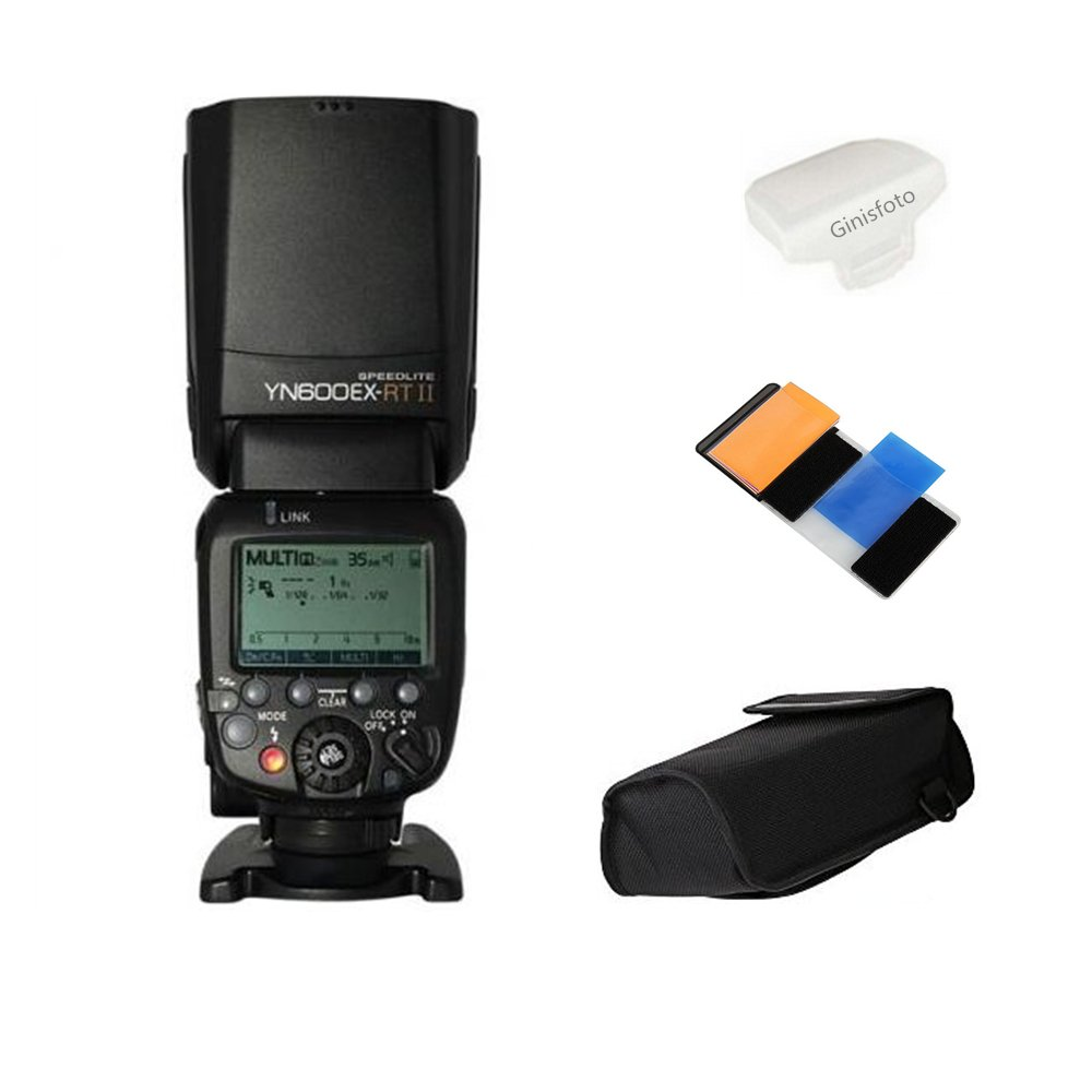 Yongnuo YN600EX-RT II Flash Speedlite for YN-E3-RT, Canon's 600EX-RT/ST-E3-RT Wireless Signal Camera, LCD Display, USB Firmware Upgrade, 1/8000sec Sync Speed with Color Gel Filters & Diffuser