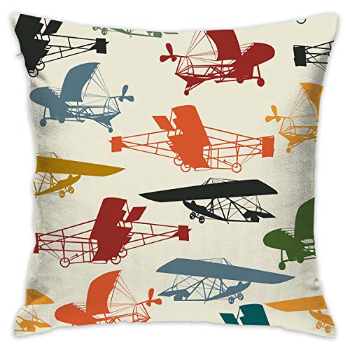 Feim-AO Free Vintage Airplane Clipart Decorative Throw Pillow Square 16 X 16 Inches with Pillow Insert for Living Room Couch Sofa Bed Decor
