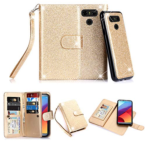 TabPow LG G6, LG G6 Plus Case, 10 Card Slot - ID Slot, Button Wallet Folio PU Leather Case Cover With Detachable Magnetic Hard Case For LG G6 (2017)/LG G6 Plus - Glitter Gold