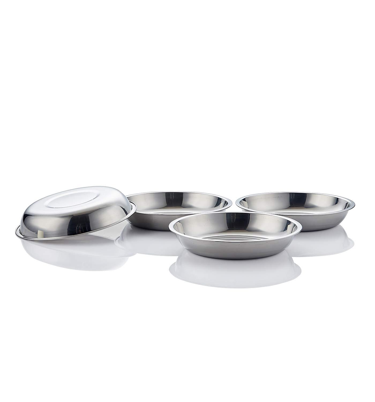 Global Wansheng Cat Food Bowl, Whisker Relief Cat Bowl, Stainless Steel Pet Bowl, Shallow Dog Food Dish, Outer Diameter 5 4/5 Inch, 4-Set by Global Wansheng