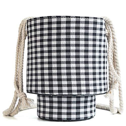 Shoulder Tote Bag Qiulv Bag Black Cylindrical Fabric Rope Crossbody Linen Women's Bag Cloth CSSw0qX