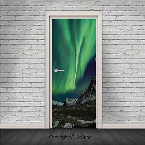 (Northern Lights Door Wall Mural Wallpaper Stickers,Flash of Aurora Polaris above Mountains in Night Picture,Vinyl Removable 3D Decals 30.4x78.7/2 Pieces set,for Home Decor Jade and Army Green Blue Gre)