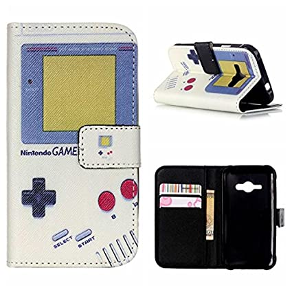 MOONCASE Galaxy J2 Carcasa, Game Boy Design Bookstyle Folio ...