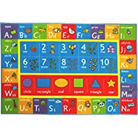 KC Cubs Playtime Collection ABC Alphabet, Numbers and Shapes Educational Learning & Game Area Rug Carpet for Kids and Children Bedrooms and Playroom