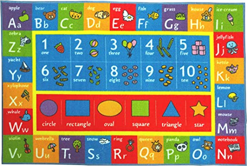 Kev & Cooper Playtime Collection ABC, Numbers and Shapes Educational Area Rug - 5'0
