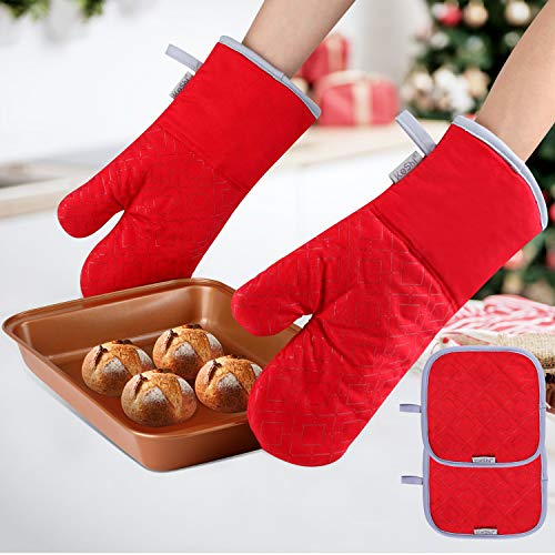 KeShi Kitchen Oven Mitts Set, Oven Mitts and Pot Holders, Heat Resistant with Quilted Cotton Lining, Non-Slip Surface 4 Pieces for Cooking, Baking, Grilling, Barbecue (Red) (Than Oven Mitts)
