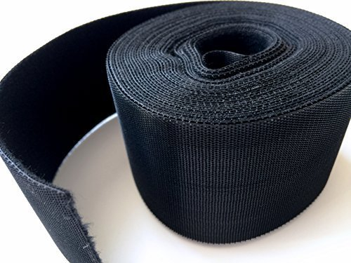 Strap 2 Hooks (AIRNIX (2 in. x 20 ft.) Black Nylon Cable Tie Roll, Double Sided Hook & Loop)