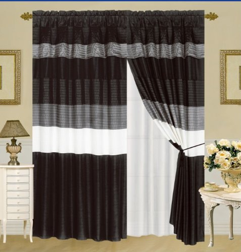 Amazon.com: MODERN BLACK / WHITE / GREY FAUX SILK Taffeta Window ...
