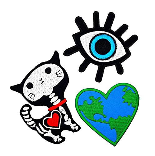 PP patch Set 3 Beautiful Devil Evil Eye, X-ray Cat Halloween, Love Earth Heart love Earth Patch for Bags Jacket T-shirt Embroidered Sign Badge Costume DIY Applique Iron on Patch -