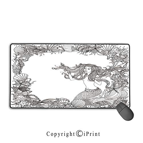 "Large Mouse pad,Mermaid,Mermaid in Artsy Seashells Starfish Coral Reef Frame Ancient Culture Myth Artwork,Grey White,Suitable for laptops, Computers, PCs, Keyboards, Mouse pad with Lock,9.8""x11.8""inc"