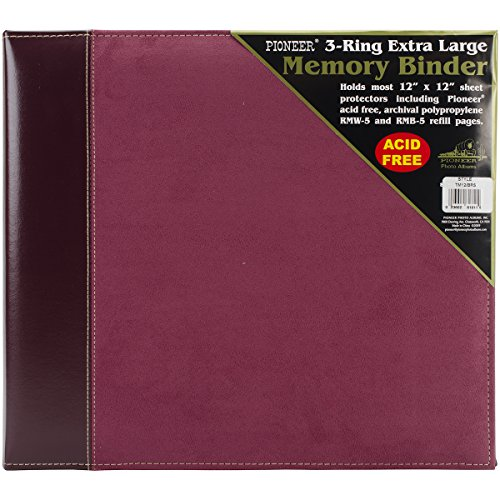 Pioneer 12 Inch by 12 Inch 3-Ring Faux Suede Cover Scrapbook Binder, Burgundy