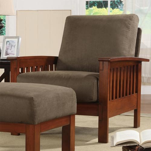 (HomeHills Mission Chair with Olive Microfiber)