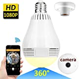 GBD Home Secutity 360 Degree IP Camera System 1080P, 2.0MP Panoramic Camera Fisheye Led Light Bulbs 3D VR Wifi Wireless Real Time Monitoring APP Remote Control Two Way Audio Monitor
