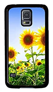 B Sunflowers PC Black Hard Case Cover Skin For Samsung Galaxy S5 I9600