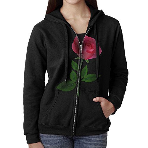 Cotton Pink Rose Clipart Flower Illuminati Woman's Zip Up Hoodies (Pink Roses Clipart)