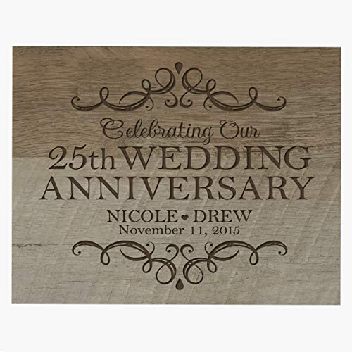 LifeSong Milestones Personalized Name and Date 25th Anniversary Plaque 25 Years of Marriage - Twenty Five Year Wedding Keepsake Gift for Parents Husband Wife him her 8