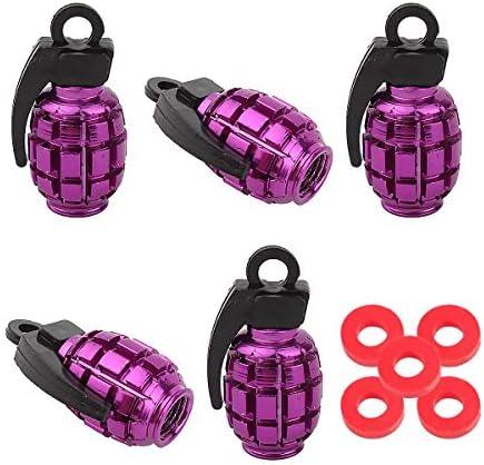 2x Bike Valve Caps Grenade Design for Schrader Valve /& Car Valve in Purple
