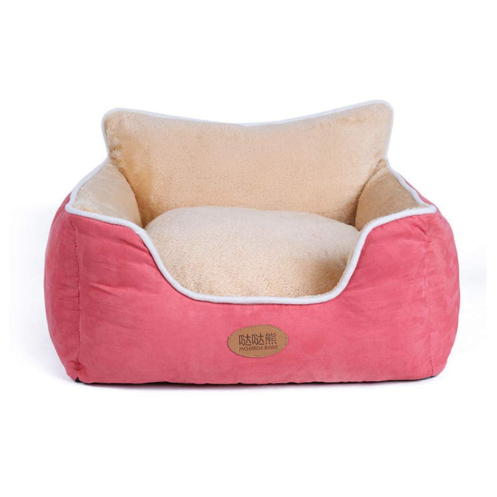 Pink LXGPT Pet Dog Beds Winter warm suede full washable back kennel