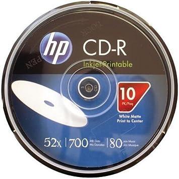 HP cr52wjh010cb 80-minute de 700 MB 52 X Printable CD-R, 10 ...