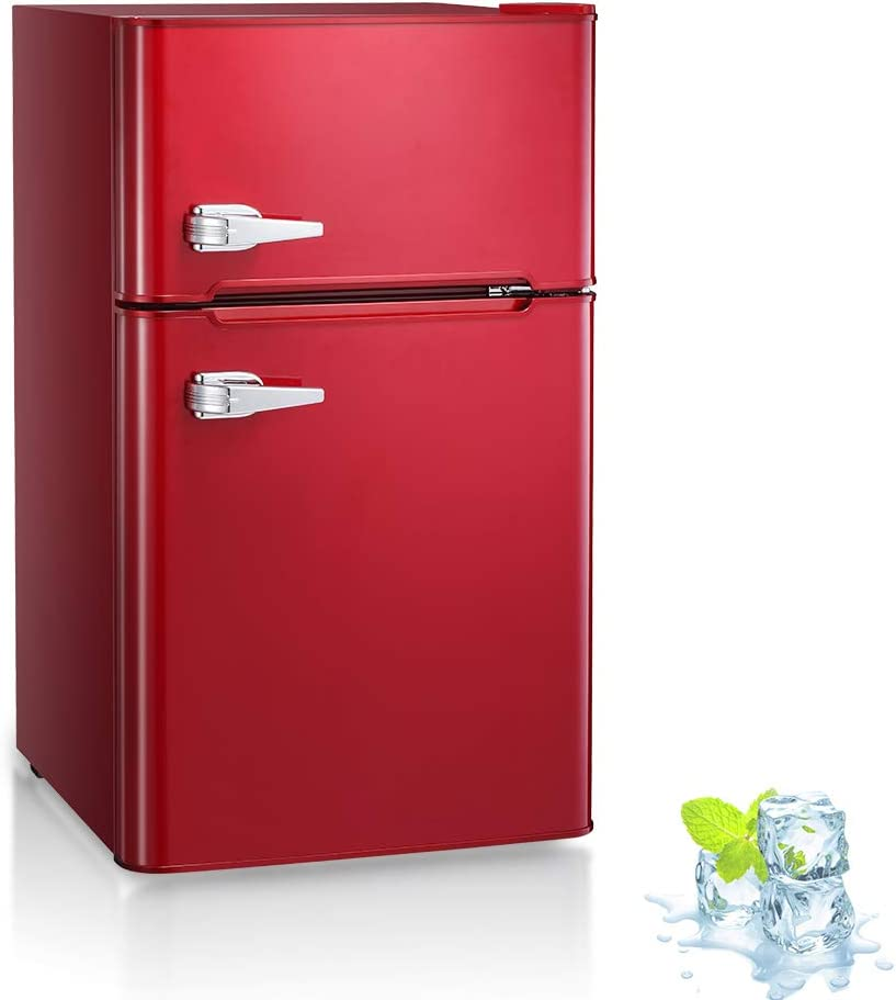 Kismile Double Door 3.2 Cu.ft Compact Refrigerator and Freezer, Freestanding mini Fridge with Adjustable Temperature, Removable glass shelves,Upright Freezer for Apartment,Dorm,Office or Home (Red)
