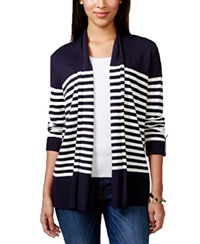 Charter Club Petite Striped Roll-Tab-Sleeve Cardigan (Blue, Medium Petite) Roll Sleeve Cardigan