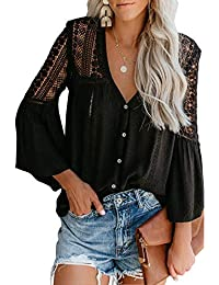 Women's Lace Crochet V Neck Bell Sleeve Button Down Shirts Casual Loose Blouses Tops