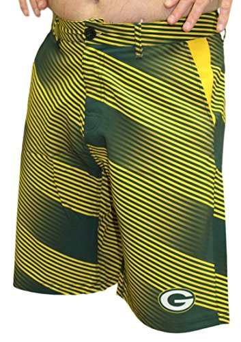 Green Bay Packers NFL Diagonal Striped Men's Casual Polyester Walking Shorts