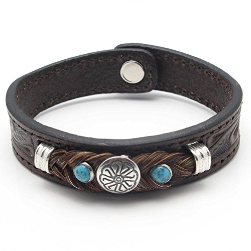 Hand Tooled Western Style Leather Bracelet Featuring Brown Horse Hair & Metal Concho - Southwestern Concho