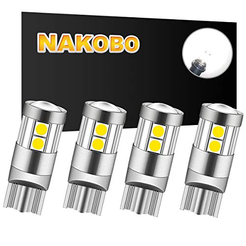 NAKOBO LED Bulb 12v 24v Non-polarity 194 T10 168 2825 W5W 12961 Car Interior Extremely Bright 9SMD 3030 Chipset, for License Plate Dome Map Door Courtesy Park Lights Pure White(pack of 4)