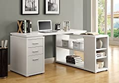 This L-shaped computer desk will be a stunning focal point in your contemporary home office. This simple and stylish piece features thick panels and clean lines, in a white finish. The desk portion offers a spacious work surface that is great...