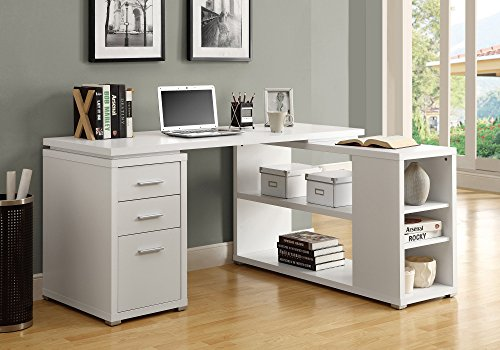 White Storage Desk (Monarch Specialties Hollow-Core Left or Right Facing Corner Desk, White)