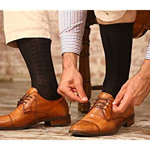 Mio Marino Mens Dress Socks - Argyle Cotton Crew Socks for men - Business casual dress socks - Style 4 - 6 Pack - Size 10 - 13