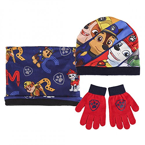 """Official Paw Patrol """"Chase, Rubble & Marshall"""" Character Hat, Snood & Glove Boys Kid 3 Piece Set"""