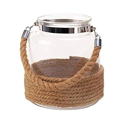 Dockside Large Candle Lantern Decorative Glass Jar Rope Handle Nautical Decor