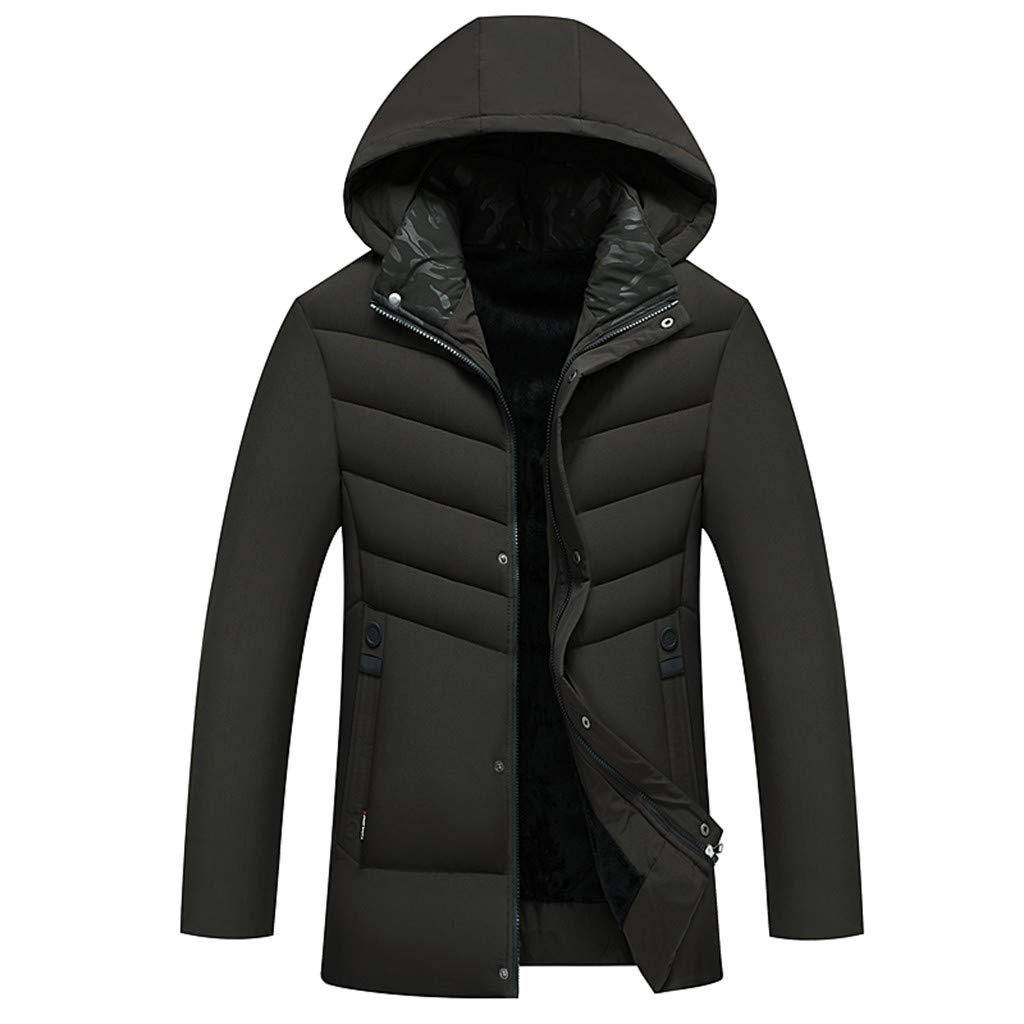 Opinionated Mens Winter Jacket, Extremely Thicken Quilted Fur Hooded Long Anorak Parka Padded Coat by Opinionated