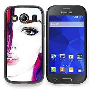 """Qstar Arte & diseño plástico duro Fundas Cover Cubre Hard Case Cover para Samsung Galaxy Ace Style LTE/ G357 (Cara de la acuarela de la mujer Chica Virgen Púrpura Rojo"""")"""
