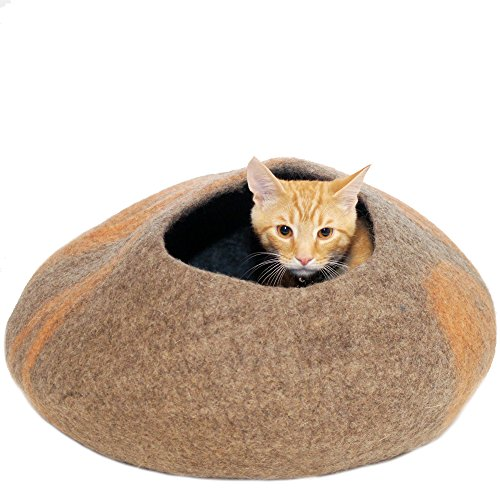 KittiKubbi-Cat-Bed-Cave-Large-Felted-from-100-Natural-Wool-Handmade-pod-for-cats-and-kittens