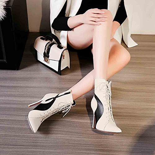 Easemax Mujeres Graceful Color Block Punta Estrecha Delantera Lace Up High Stiletto Tacón Botines Blanco
