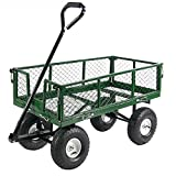 Cheap Sunnydaze Utility Cart with Removable Folding Sides, Green, 34 Inches Long x 18 Inches Wide, 400 Pound Weight Capacity