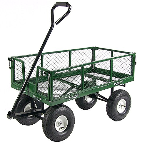 Sunnydaze Utility Steel Garden Cart, Outdoor Lawn Wagon with Removable Sides, Heavy-Duty 400 Pound Capacity, Green