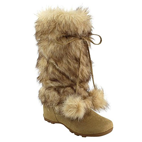 Flat Mid Calf Boots - De Blossom Collection CE37 Women's Lace Up Mid-Calf Pom-Poms Flat Boots, Color:Camel, Size:10
