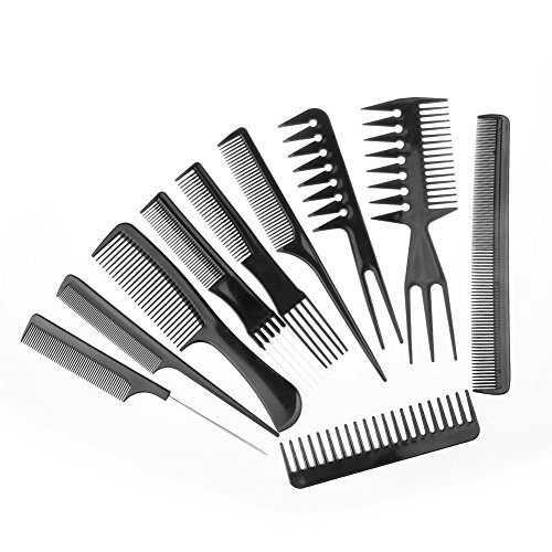 Amoroam 10 Pieces Professional Styling Comb Set Salon Hair Styling Hairdressing Barbers Comb Set for All Hair Types and - Professional Comb Black