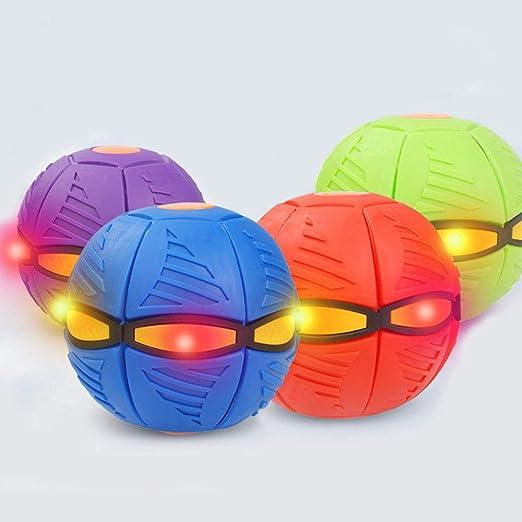 BEIBEIROU Deformation UFO Magic Ball Glowing Vent Ball Anti-Drop Frisbee Toy Ball Outdoor Garden Beach Game for Children Outdoor Toy Ball